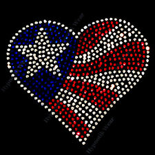 "Rhinestone Transfer "" 4th of July Heart "" American Flag, Hotfix, Bling, Iron On"