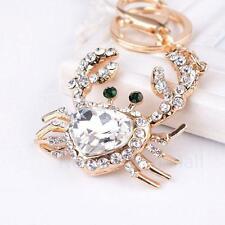 Fashion Crystal Crab Keychain Keyring Car Key Ring Bag Pendant Chain Charm Gift
