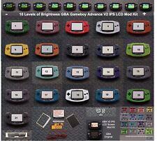 10 Level Brightness Gameboy GBA V2 IPS LCD Mod Kit w/glass lens - Pick Color