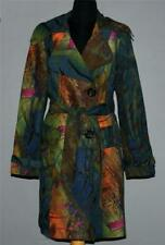 Rare Alberto Makali Abstract Faux Suede Velvet Feel Belted Trench Coat Wms 6 EXC