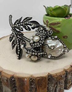 Vintage Lawrence VRBA HUGE Dimensional Flower Stone Pearls Brooch Pin