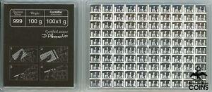 Valcambi Suisse .999 Fine Silver 100 Gram (100x1) CombiBar w/ COA (ASW 3.21 oz)