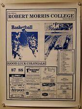 1987-88 ROBERT MORRIS COLLEGE COLONIALS MEN'S BASKETBALL SCHEDULE POSTER RMC RMU