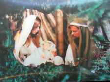Joseph-Mary-Jesus Halogram 3-D Continental Postcard 1960s Made in Japan