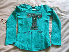BNWT Next Green Stars L/S Top 'T is for T Shirt' Beaded on it Age 7