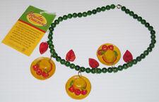 DEPT 56 RETROLITE NECKLACE GREEN W/ FANCY HATS & LEAVES