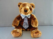 CHOCOLATE BROWN VELVET SOFT PLUSH TY BEANIE BUDDY THE 1st TO WEAR NECKTIE  RARE
