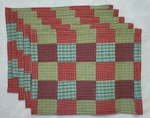 6 Plaid Check Patchwork Placemats Red Blue Green Reversible Country Farmhouse