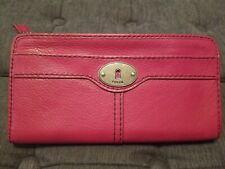 Fossil Maddox Wallet Leather Zip Accordion Pink Clutch Organizer