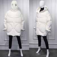 Womens Warm Winter Designer Inspired Alien Hood Oversize Coat Puffer Parka