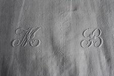 Nappe 26 ancienne en  lin  178 x 105 cm liteaux monogramme MB