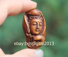 5 CM China Boxwood Handwork Carved Guanyin Kwan-yin Bodhisattva Buddha sculpture