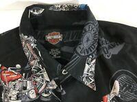 Harley Davidson Shirt Tori Richard Mens M Silk Motorcycle Hawaiian Camp Black