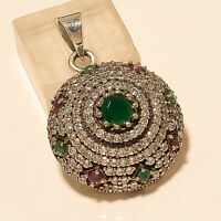Natural Soliatire Emerald Ruby Pendant 925 Sterling Silver Women Wedding Jewelry