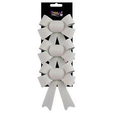 Christmas Glitter Bow Tree Decoration - 3 Pack White 10cm x 13cm
