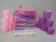 Pink Purple Hair Rollers 26 Piece Set Cling Curl Backcombing Combs Clips & Case