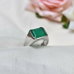Natural Green Onyx Gemstone with 925 Sterling Silver Ring for Men's #1299