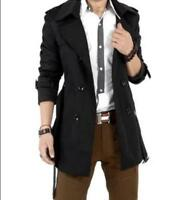 Style Men Double Breasted Lapel Belted Slim Fit Long Jacket Trench Coat S Ths01