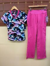 New Pink Print Scrubs Set With Jockey Xs Top & Healing Hands Xs Tall Pants Nwt