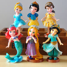 Disney Princess 6pcs set Figures toy doll Cake Topper Ariel Snow White Rapunzel