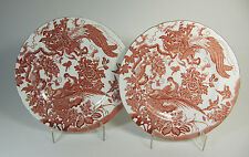 """c. 1953-1954 Two Royal Crown Derby Red Aves Luncheon Plates - 9 1/4"""" wide"""