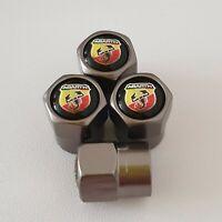 FIAT ABARTH metal valve DUST CAPS Gun Metal Grey More Colours 500L 500C 500X