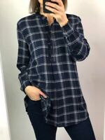 Womens Ladies Navy Mix Cotton Rich Check Longline Tunic Shirt Blouse Size 6-22