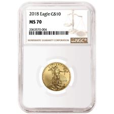 2018 $10 American Eagle 1/4 OZ NGC MS70 Gold Etiqueta Marrón