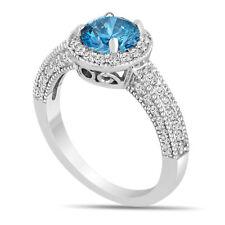 PLATINUM ENHANCED BLUE DIAMOND ENGAGEMENT RING 1.53 CARAT PAVE SET