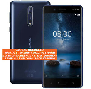 "NOKIA 8 TA-1004/1012 4gb 64gb Octa-Core 13mp Fingerprint 5.3"" Android Smartphone"