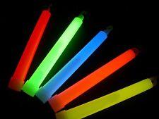"""100 6"""" JUMBO Assorted Glow Sticks Bulk Wholesale Pack w/ FREE 100 Glow Bracelets"""