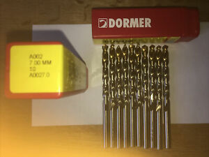 DORMER A002 HSS Tin Coated Jobber Drills High Speed Steel Twist Bits 7mm   X 10