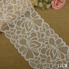 """1 Yard Pretty Stretch Floral Delicate Scallop Edge Lace Trim White  6 1/2"""" Wide"""