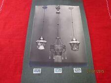 alte Bildtafel - Foto auf Pappe - 3 extrem seltene Lampen - wohl um 1900    /S54