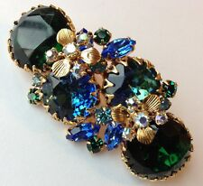 VINTAGE HATTIE CARNEGIE SIGNED BLUE AND GREEN RHINESTONE BROOCH