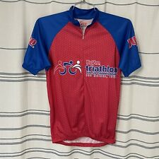 New listing Cycling Jersey Short Sleeve Red Blue Men's small Hy-Vee Triathlon EUC