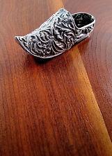 Dutch .833 Silver Repousse Ashtray Trinket Box Signed I.V. 1905 Dutch Shoe Motif
