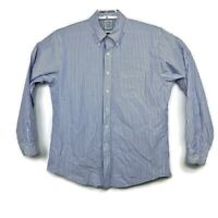 Brooks Brothers Mens Blue Striped Long Sleeve Button Down Shirt Size 17-35