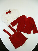 Vtg R-GEE ORIGINALS Outfit Boy 18 mo Red Velvet Jacket Shorts Bow Tie Shirt Flaw