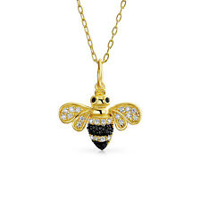 Bumble Bee Queen Bee Golden Black Pendant necklace 14k Gold Plate Silver