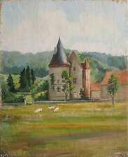 Tableau Chateau bourguignon HST Paysage campagne