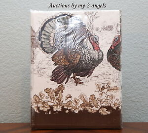 NEW Williams-Sonoma PLYMOUTH TURKEY TABLECLOTH 70x120 *Thanksgiving Traditional