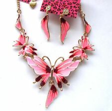 Betsey Johnson Beautiful Pink enamel butterfly bib Necklace earrings set#735T F