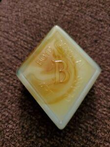 Boyd Art Glass Diamond Shape Logo Paperweight / Color Sample - Candy Swirl