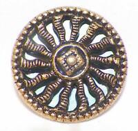 Mirror Back Brass Button Sun Rays Self Shank Vintage #35