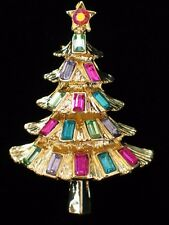 "GOLD AB TEAL PINK LAVENDER RHINESTONE CHRISTMAS TREE PIN BROOCH JEWELRY 1.75"" 3D"