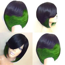 Ombre Hairpieces Short Wavy Curly Style Afro Wigs for Women with Bang Synthetic