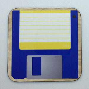 Yellow Floppy Disc - Novelty Hot Drinks Coaster / Bar Mat -Sturdy Gloss Original