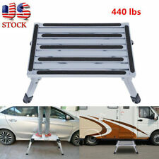 Portable Folding Aluminum Platform Step Stool RV Trailer Camper Working Ladder