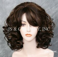 Cute as it can be! Curly Lots volume Brown mix HEAT SAFE WIG Bangs HHP 4-27